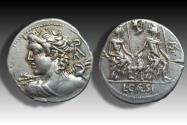Ancient Coins - AR denarius L. Caesius, Rome 112-111 B.C. - beautiful bust of Apollo -