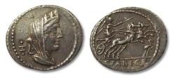 Ancient Coins - AR denarius C. Fabius C.f. Hadrianus, Rome 102 B.C.
