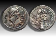 Ancient Coins - AR denarius Q. Sicinius and C. Coponius. Asia Minor 49 B.C. - beautiful gold irridescence -