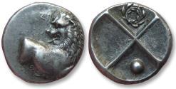 Ancient Coins - AR hemidrachm Thrace, Chersonesos 386-338 B.C. -- wreath and pellet symbols --