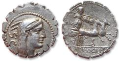 Ancient Coins - AR denarius, L. Procilius, Rome 80 B.C. - beautiful sharply struck example of this type -