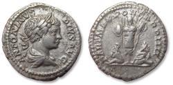 Ancient Coins - AR denarius, Caracalla. Rome mint 201 A.D. - Trophy with captives on reverse -