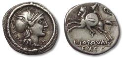 Ancient Coins - AR denarius L. Manlius Torquatus, Rome 113-112 B.C. -- attractively toned --