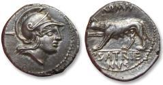 Ancient Coins - AR Denarius, P. Satrienus. Rome 77 B.C. - control number I or control letter T -