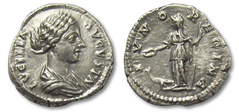 Ancient Coins - AR denarius Lucilla, Rome 164-182 A.D. --IVNO REGINA, lustrous--
