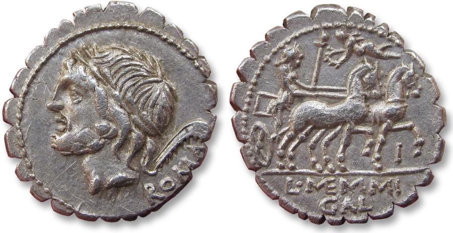 Ancient Coins - AR denarius L. Memmius Galerius. Rome 106 B.C. - control letter I on reverse -