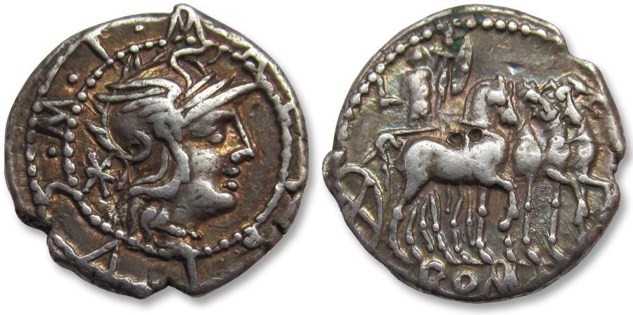 Ancient Coins - AR denarius M. Acilius M.F. Rome 130 B.C. -- beautifully toned --
