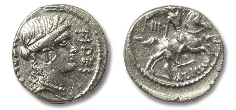 Ancient Coins - AR denarius A. Licinius Nerva, Rome 47 B.C.