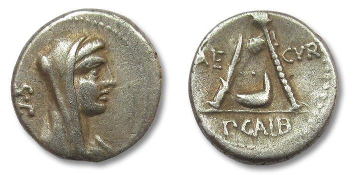 Ancient Coins - AR denarius P. Sulpicius Galba, Rome 69 B.C.