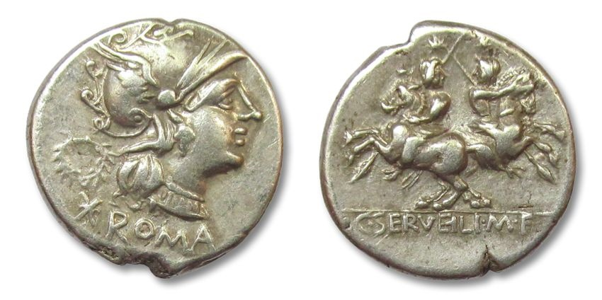 Ancient Coins - HS: AR denarius C. Servilius M.f., Rome 136 B.C.