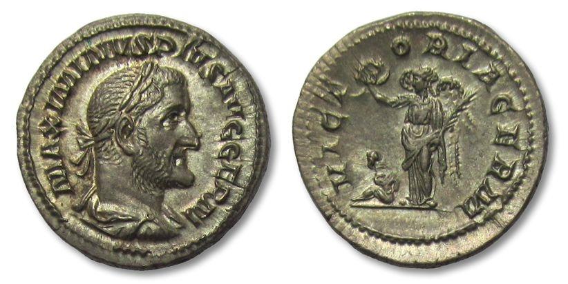 Ancient Coins - AR denarius Maximinus I Thrax, Rome 236-238 -- VICTORIA GERM in FDC condition !! --