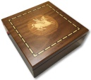 Ancient Coins - Small walnut veneered coin case decorated with coin from EMPORION, SPAIN  - holds 100 coins up to 37mm -