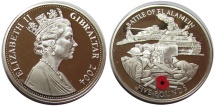 World Coins - Silver 'poppy' 5 pound, gibraltar 2004, commemorating battle of El Alamein WW2