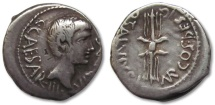 AR denarius Octavian, struck under Q. Salvius, mobile military mint in Italy early 40 B.C.