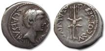 Ancient Coins - AR denarius Octavian, struck under Q. Salvius, mobile military mint in Italy early 40 B.C.