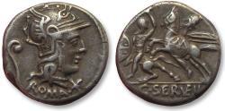 Ancient Coins - AR denarius C. Servilius Vatia, Rome 127 B.C. -- cavalry in combat --