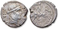 Ancient Coins - AR denarius A. Licinius Nerva, Rome 47 B.C. - sharply struck, a great coin for the type -