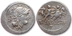 Ancient Coins - AR Denarius, M. Servilius / Serveilius C.f., Rome 100 B.C. - large flan, control letter N on obverse, T on rever
