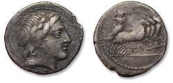 Ancient Coins - AR denarius anonymous issue. Rome 86 B.C.