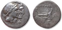 Ancient Coins - AR denarius Mn. Fonteius, 108-107 B.C. -- Roman galley --