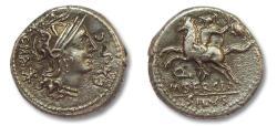 Ancient Coins - AR denarius M. Sergius Silus, Rome 116-115 B.C. -- Ex Gorny & Mosch --