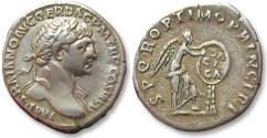 AR denarius Trajan / Trajanus - scarce cointype, on the victory in the Dacian Wars - Rome mint 112-114 A.D. - Victory inscribing DA/CI/CA on shield