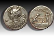Ancient Coins - AR denarius P. Licinius Nerva, Rome 113-112 B.C. -- voting scene, beautiful sharp coin --