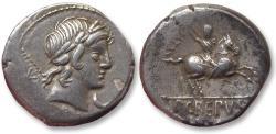 Ancient Coins - AR Denarius, P. Crepusius, Rome 82 B.C. - control numeral CCLVI on reverse -