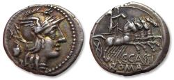 Ancient Coins - AR denarius C. Cassius, Rome mint 126 B.C. - great centering and toning on both sides -