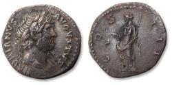 Ancient Coins - AR denarius, Hadrian / Hadrianus. Rome 125-128 A.D. - COS III, Libertas standing left -
