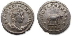 Ancient Coins - AR antoninianus Otacilia Severa, Rome mint 248 A.D. -- 1000 years Rome, nearly mint state, hippo right --