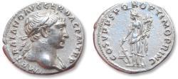 Ancient Coins - AR denarius Trajan / Trajanus, Rome mint 103-111 A.D. - Fortuna left -