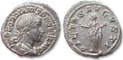 Ancient Coins - AR denarius Gordian / Gordianus III - near mint state lustrous coin - Rome mint 240 A.D. - PIETAS AVGVSTI Pietas standing left -