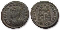 Ancient Coins - AE follis Constantine II as Caesar, Cyzikus mint 325-326 A.D. -- SMKA, 7 tiered campgate --