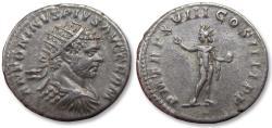 Ancient Coins - AR antoninianus Caracalla. Rome 215 A.D. - P M TR P XVIII COS IIII P P, Sol standing left -