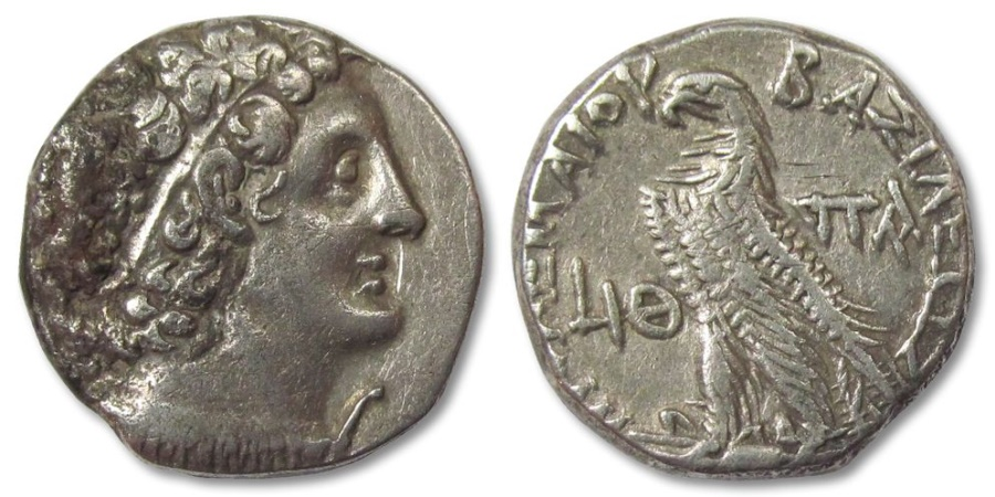 Ancient Coins - AR tetradrachm Ptolemaic Kingdom of Egypt, Ptolemy X, Alexandria Dated Year 19 (96-95 B.C.)