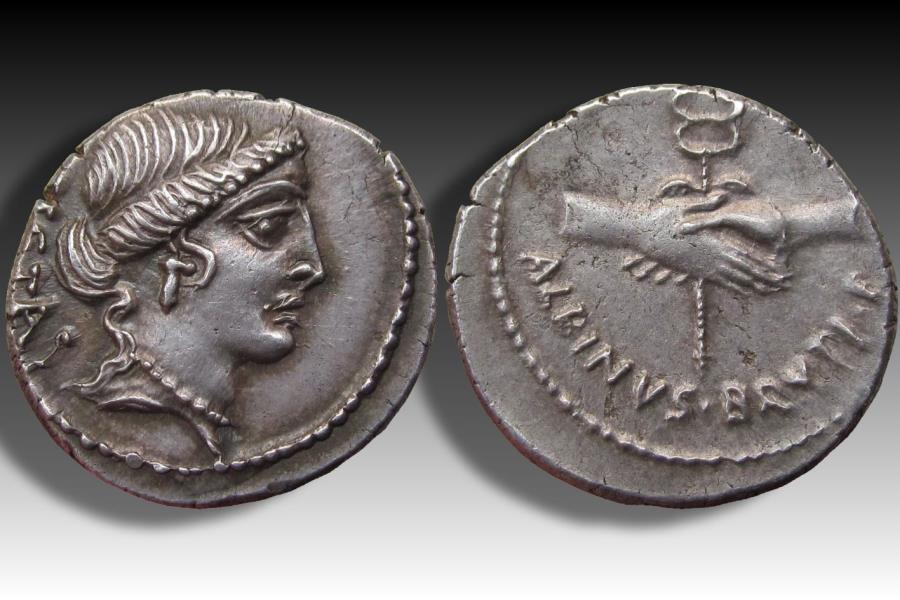 Ancient Coins - AR denarius D. Iunius Albinus Bruti f., Rome 48 B.C. - high quality coin -