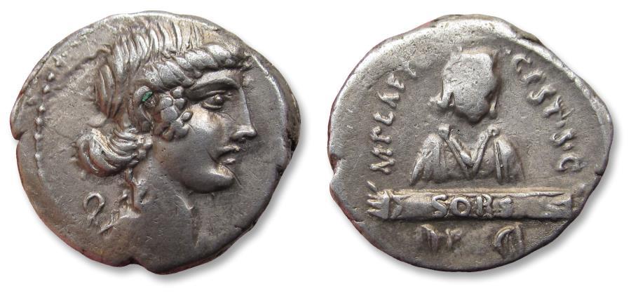 Ancient Coins - AR denarius M. Plaetorius M. f. Cestianus, Rome 69 B.C. - rare cointype -
