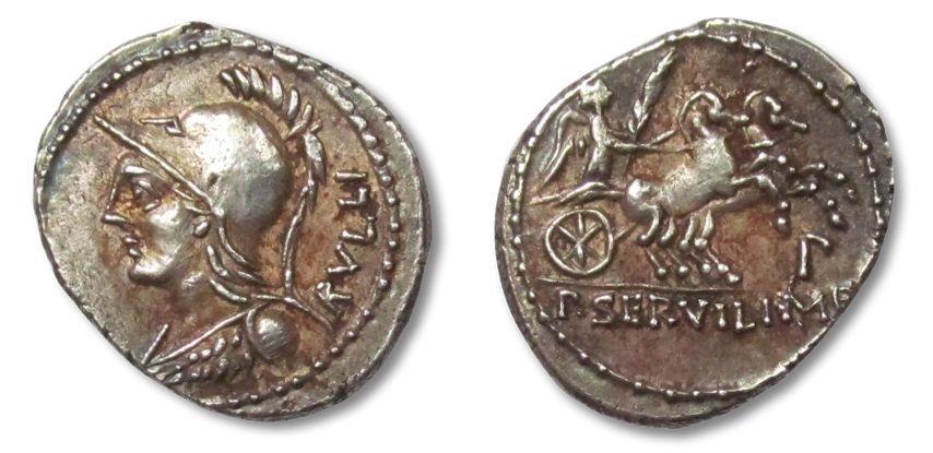 Ancient Coins - AR denarius P. Servilius M.f. Rullus, Rome 100 B.C. -- big flan --