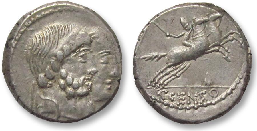 Ancient Coins - AR denarius C. Marcius Censorinus, Rome 88 B.C. -- dual portrait obverse + arrowhead symbol --