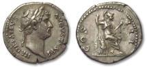 Ancient Coins - AR denarius Hadrian / Hadrianus, Rome 134-138 A.D. --ROMA seated right--