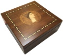 Ancient Coins - Small walnut veneered coin case decorated with portrait of JULIUS CAESAR - holds 100 coins up to 37mm -