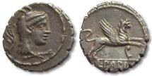 Ancient Coins - AR denarius L. Papius, Rome 79 B.C. -- aplustre & prow of galley control symbols --