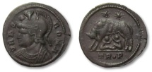 Ancient Coins - HS: AE follis, Constantinople city commemorative issue, Trier mint 330-337 A.D. --She-wolf--