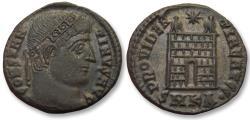 Ancient Coins - AE follis Constantine I, Cyzicus mint 328-329 A.D. -- SMKA, 7 tiered campgate --
