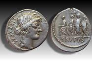 Ancient Coins - AR denarius M. Junius (Q. Servilius Caepio) Brutus, Rome 54 B.C.