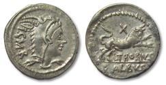 Ancient Coins - AR Denarius, L. Thorius Balbus, Rome 105 B.C. - control letter X on reverse -