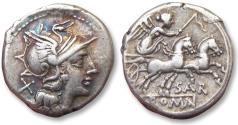 Ancient Coins - AR denarius Sextus Atilius Saranus, Rome 155 B.C.