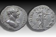Ancient Coins - AR denarius Trajan / Trajanus, Rome 114-117 A.D. -P M TR P COS VI P P SPQR, scarce bust type