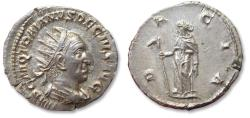 Ancient Coins - AR antoninianus Trajan Decius - near mint state - Rome mint 249-250 A.D. - DACIA, variety with Dacia holding staff with wolf's head (=draco) -